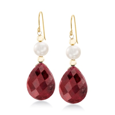 20.00 ct. t.w. Ruby and Cultured Pearl Earrings in 14kt Yellow Gold