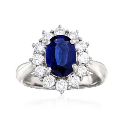 C. 1980 Vintage 1.70 Carat Sapphire and .78 ct. t.w. Diamond Ring in Platinum