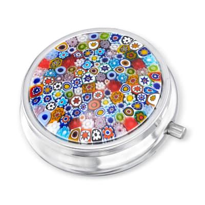 Italian Murano Multicolored Floral Pill Case