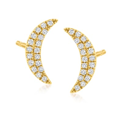 .10 ct. t.w. Diamond Moon Stud Earrings in 14kt Yellow Gold