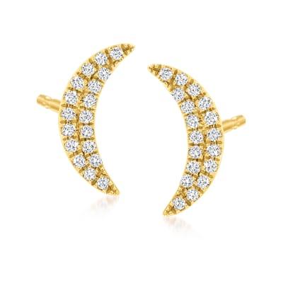 .10 ct. t.w. Diamond Moon Stud Earrings in 14kt Yellow Gold