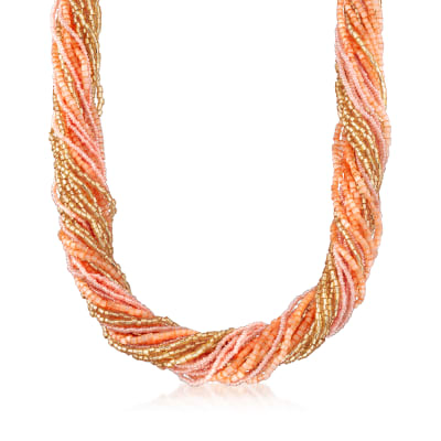Italian Multicolored Murano Glass Bead Torsade Necklace in 18kt Yellow Gold Over Sterling Silver