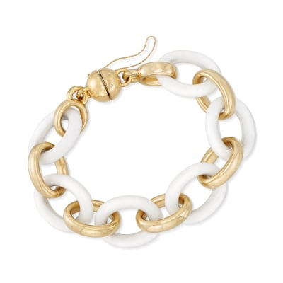 Andiamo 14kt Yellow Gold Over Resin and White Agate Bracelet with Magnetic Clasp