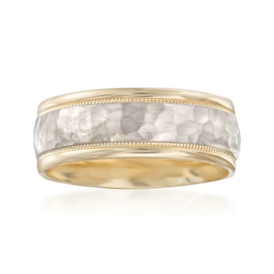 Men's 8mm 14kt Two-Tone Gold Wedding Ring