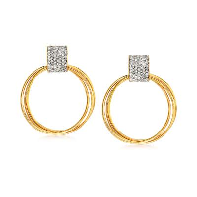 .75 ct. t.w. Diamond Doorknocker Earrings in 18kt Gold Over Sterling