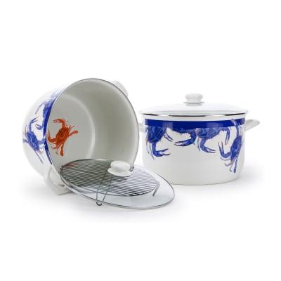 """Golden Rabbit """"Blue Crab"""" 18-qt. Stock Pot with Rack"""