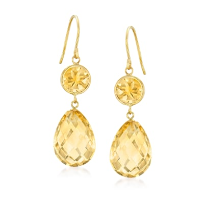 19.00 ct. t.w. Citrine Drop Earrings in 14kt Yellow Gold