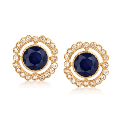 2.50 ct. t.w. Sapphire and .50 ct. t.w. Diamond Stud Earrings in 14kt Yellow Gold