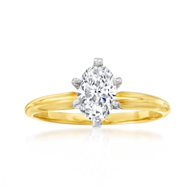 C. 1980 Vintage .80 Carat Diamond Ring in 14kt Yellow Gold