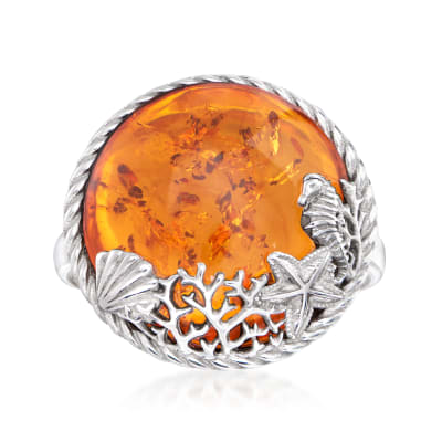 Amber Sea Life Ring in Sterling Silver