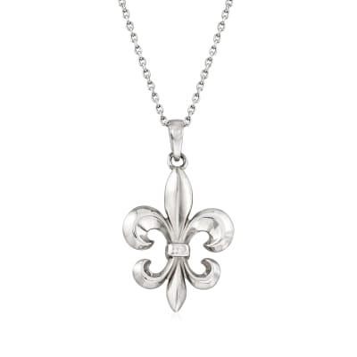 Italian Sterling Silver Fleur-De-Lis Necklace