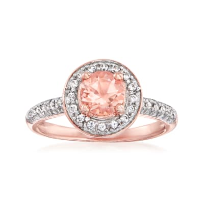 .70 Carat Morganite and .20 ct. t.w. White Topaz Ring in 18kt Rose Gold Over Sterling