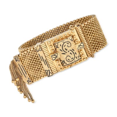 C. 1940 Vintage Geneva 14kt Yellow Gold Manual Watch Bracelet