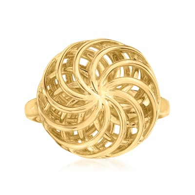 Italian 18kt Gold Over Sterling Openwork Swirl Ring