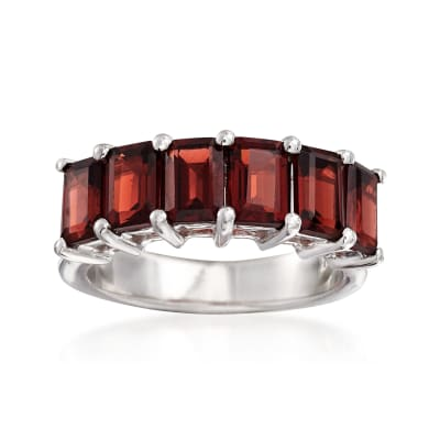 4.50 ct. t.w. Emerald-Cut Garnet Ring in Sterling Silver
