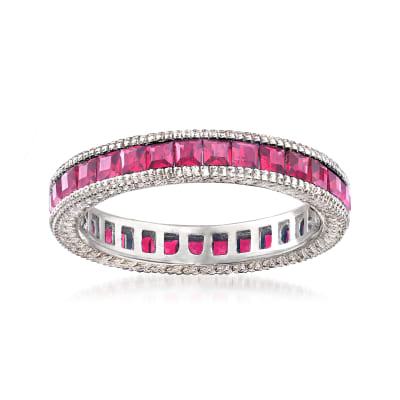 Simulated Ruby Eternity Band in Sterling Silver