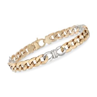 Italian Men's Two-Tone Link Bracelet