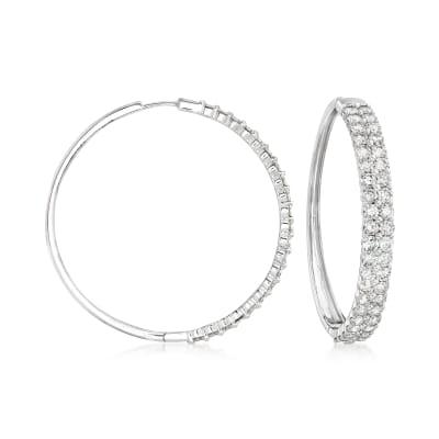 7.00 ct. t.w. Diamond Double-Row Hoop Earrings in 14kt White Gold