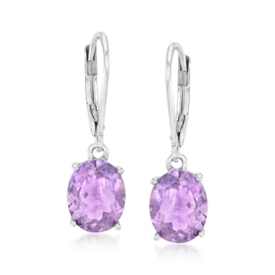 5.00 ct. t.w. Amethyst Drop Earrings in Sterling Silver