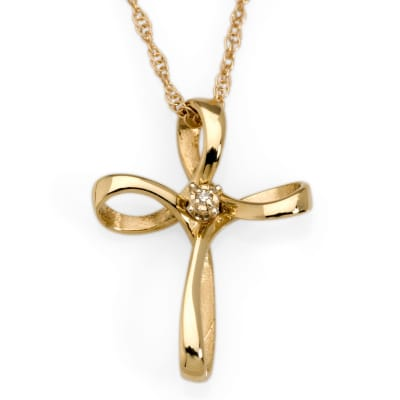 14kt Yellow Gold Cross Necklace with Diamond