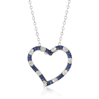 C. 1990 Vintage .40 ct. t.w. Sapphire and .25 ct. t.w. Diamond Heart Pendant Necklace in 14kt White Gold