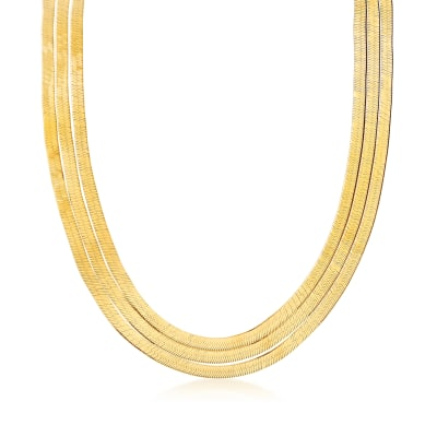 Italian 18kt Gold Over Sterling Layered Herringbone Necklace