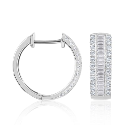 .50 ct. t.w. Baguette and Round Diamond Hoop Earrings in 14kt White Gold