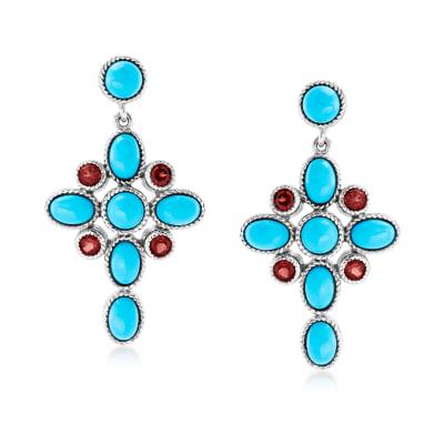 Turquoise and 1.00 ct. t.w. Garnet Cross Drop Earrings in Sterling Silver