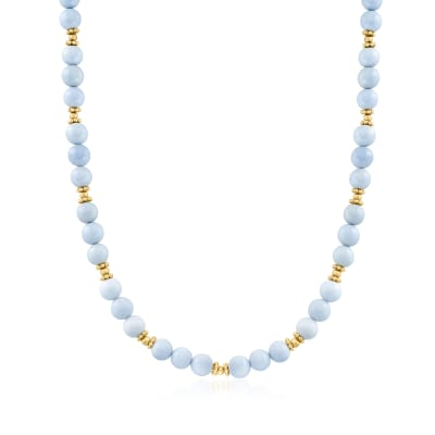 8-8.5mm Blue Opal Bead Station Necklace with 18kt Gold Over Sterling
