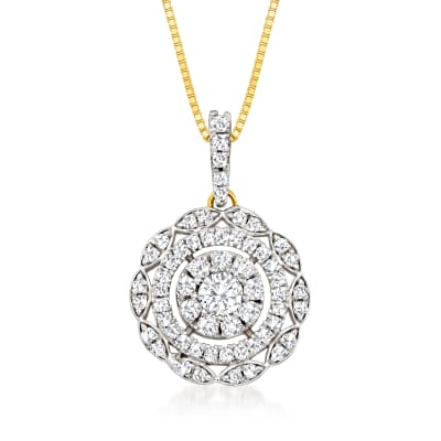 .50 ct. t.w. Diamond Cluster Pendant Necklace in 14kt Yellow Gold