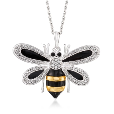 .20 ct. t.w. Diamond and Black Enamel Bee Pendant Necklace in Sterling Silver and 18kt Gold Over Sterling