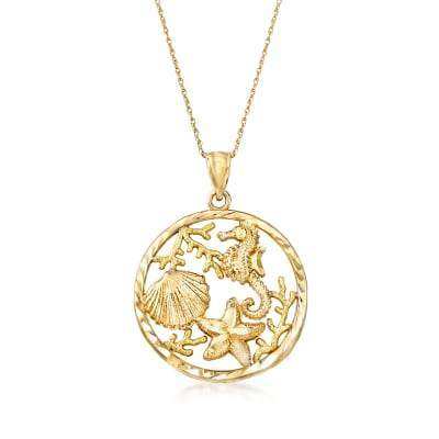 14kt Yellow Gold Sea Life Pendant Necklace