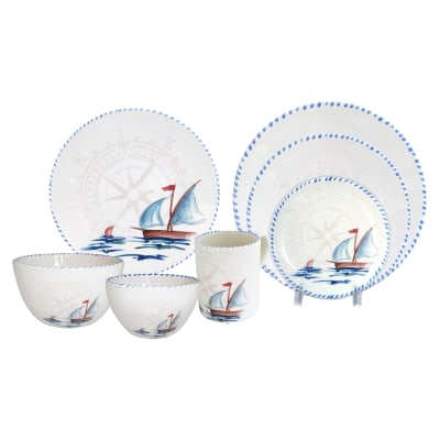 "Abbiamo Tutto ""Sailboat"" Ceramic Dinnerware from Italy"