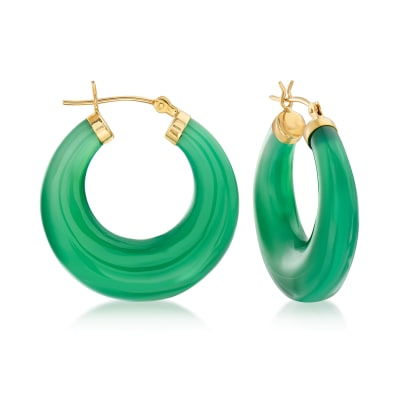 Green Agate Hoop Earrings in 14kt Yellow Gold