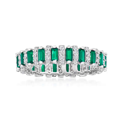 1.00 ct. t.w. Simulated Emerald and .44 ct. t.w. CZ Eternity Band in Sterling Silver