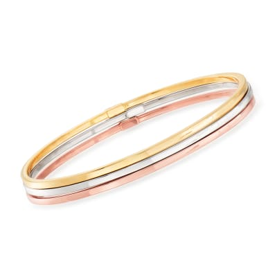 Italian 14kt Tri-Colored Gold Jewelry: Set of Three Bangle Bracelets