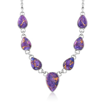Purple Kingman Turquoise Necklace in Sterling Silver