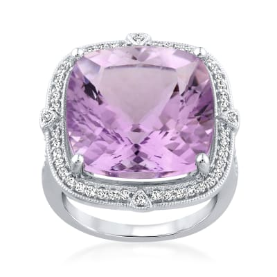 17.00 Carat Amethyst Ring with .35 ct. t.w. Diamonds in 14kt White Gold