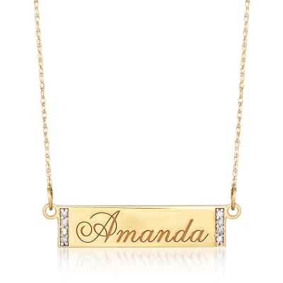 Diamond-Accented Name Bar Necklace in 14kt Yellow Gold