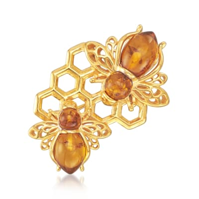 Amber Bumblebee and Honeycomb Pin in 18kt Gold Over Sterling