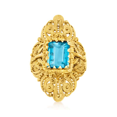 C. 1970 Vintage 2.25 Carat Swiss Blue Topaz Ring in 18kt Yellow Gold