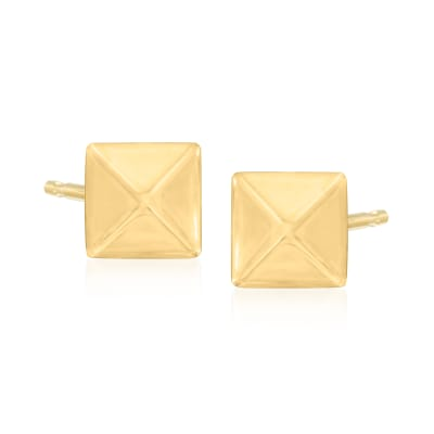 6mm 14kt Yellow Gold Pyramid Stud Earrings