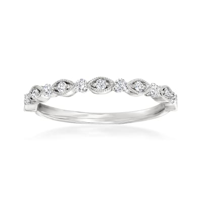 Henri Daussi .20 ct. t.w. Diamond Wedding Ring in 14kt White Gold