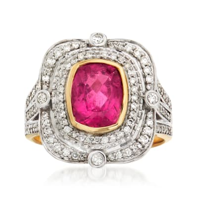 1.90 Carat Pink Tourmaline and .53 ct. t.w. Diamond Ring in 14kt Yellow Gold