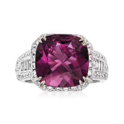 C. 1990 Vintage 5.20 ct. t.w. Pink Tourmaline Ring with .90 ct. t.w. Diamonds in 18kt White Gold