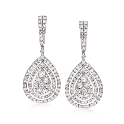 2.75 ct. t.w. Diamond Teardrop Earrings in 14kt White Gold