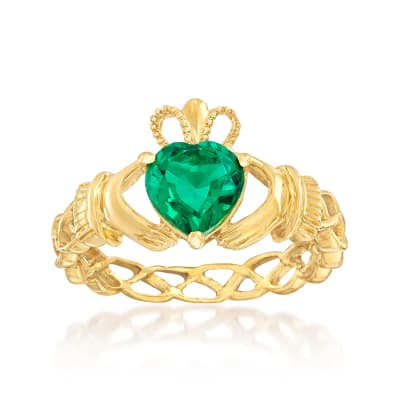 1.20 Carat Simulated Emerald Claddagh Ring in 18kt Gold Over Sterling