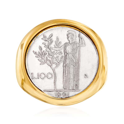 Italian Andiamo 14kt Yellow Gold Over Resin 100-Lira Coin Ring
