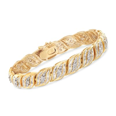 1.00 ct. t.w. Diamond Bracelet in 18kt Gold Over Sterling