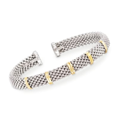 "Phillip Gavriel ""Popcorn"" Sterling Silver and 18kt Gold Cuff Bracelet"